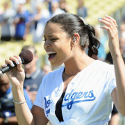 Jordin Sparks Sings The National Anthem At Dodgers Game